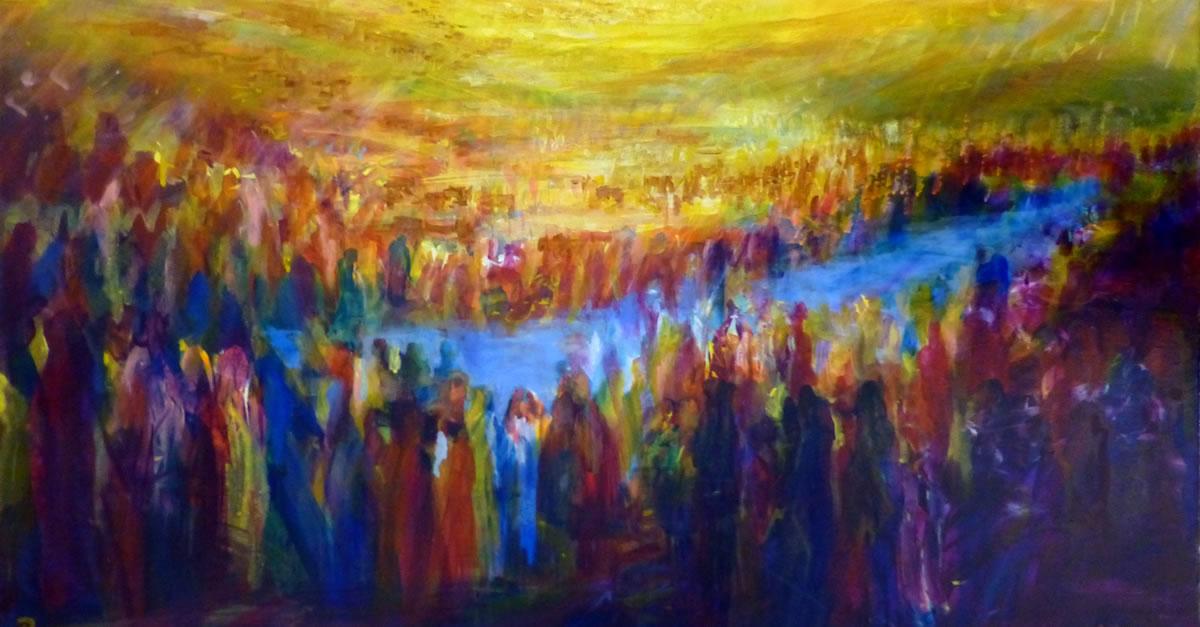 crossing over the jordan river - matot art