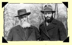 The Rebbe with his son-in-law and successor, Rabbi Menachem M. Schneerson. Adar I 25, 1935, Pukersdorf, Austria.