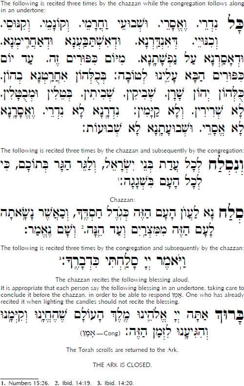 Text of Kol Nidrei Prayer High Holidays